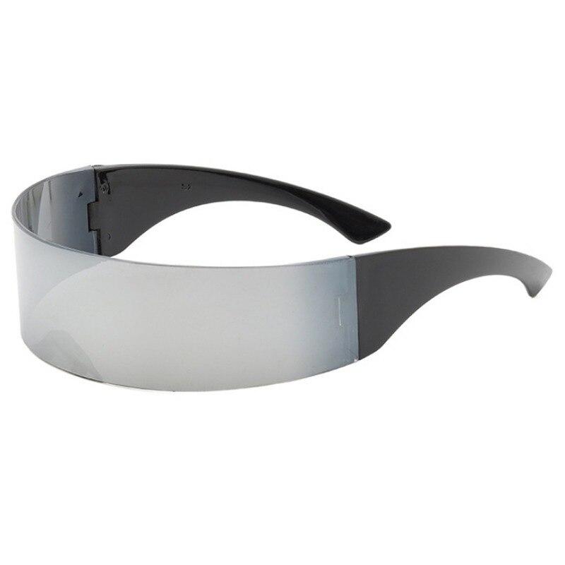 Futuristic Monoblock Cyclop Sunglasses Party Wrapped Around Mirror Glasses Cosplay Costume