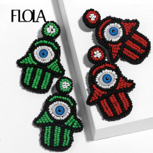 FLOLA Bohemian Red Hamsa Beaded Earrings Large Statement Dangle Turkish Eye Woman Pendientes Fatima Hand Jewelry ersq91