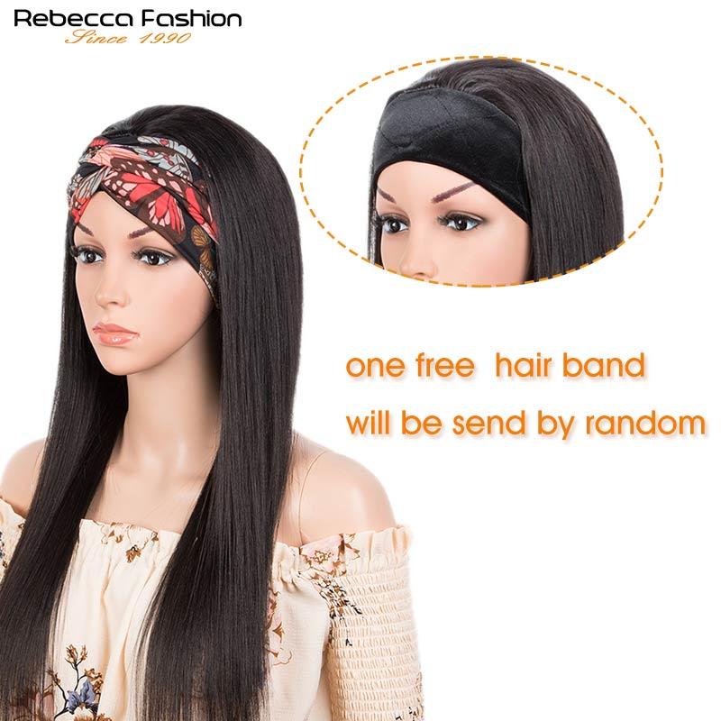Rebecca Headband Wig Long Straight Human Hair Wigs for Black Women Full Machine Cheap Wigs Remy Brazilian Short Hair Scarf Wigs
