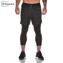 Siteweie novos homens calças de fitness corredores de secagem rápida calças de ginásio calças de suor corredores falsos esportes de duas peças nona calças l360