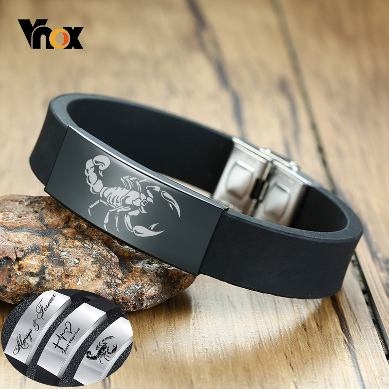 Vnox Personalize Engrave Bracelets for Men Comfortable Silicone Band with Stainless Steel ID Tag Custom Family BFF Gifts for Him