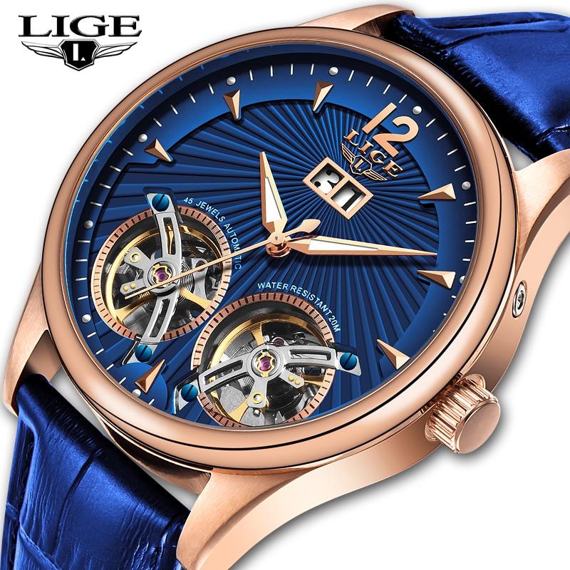2020 New LIGE Men Watches Luxury Leather Double Tourbillon Mechanical Watch Men Fashion Business Automatic Waterproof Watch 9997