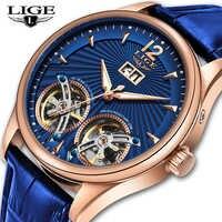 2020 neue LIGE Männer Uhren Luxus Leder Doppel Tourbillon Mechanische Uhr Männer Mode Business Automatische Wasserdichte Uhr 9997