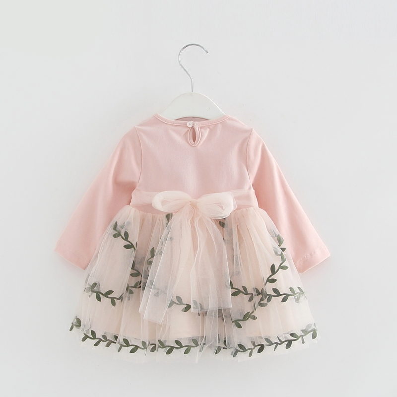 Baby Girl Lace Mesh Princess Dress Flowers Appliques Children Wedding Christening Dress For Kids Party Wear 4