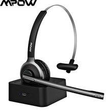 Mpow fone de ouvido bluetooth para caminhoneiro escritório fone de ouvido com microfone de supressão de ruído bluetooth4.1 180h base de carregamento fone de ouvido de tráfego