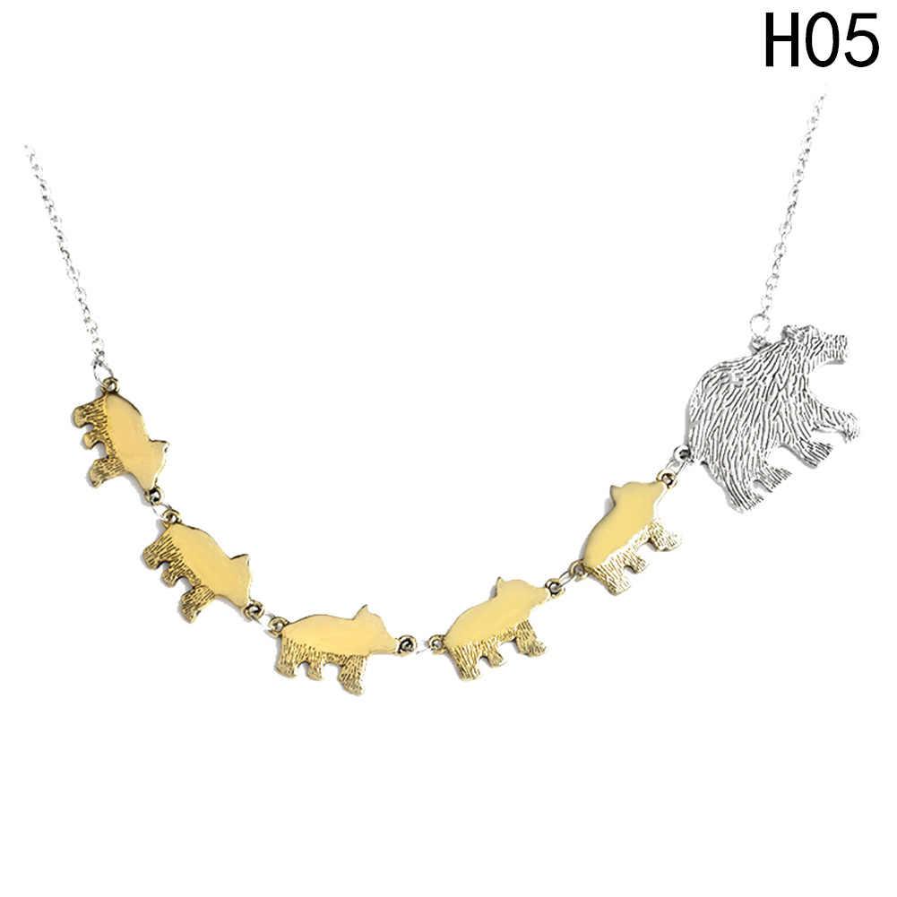 Couleur or et argent mère enfants amour protecteur maman et enfants bijoux maman ours et petit Animal pendentif collier