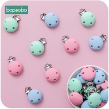 Bopoobo 50pc Baby Teether Pacifier Silicone Round Clip Ecofriendly DIY Crafts Dummy Clips Adapters Attachments Silicone Teether