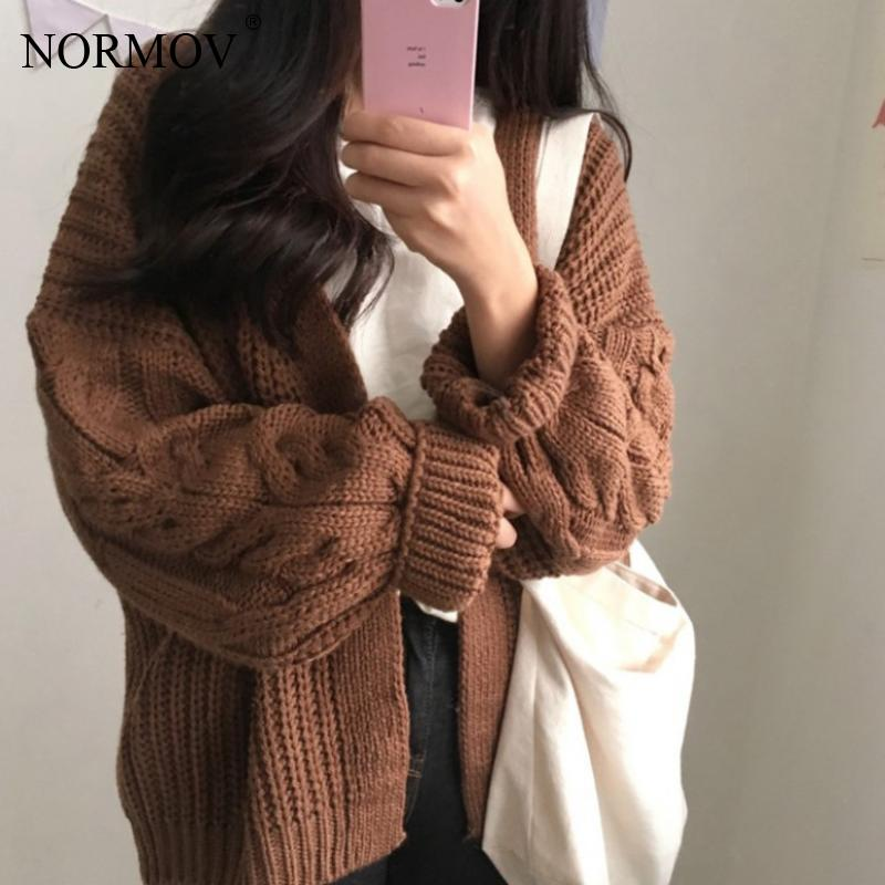 NORMOV Women Cardigan Sweaters Winter Women Loose Sweater Long Sleeve Twist Knit Girls Casual Outerwear Femme Top