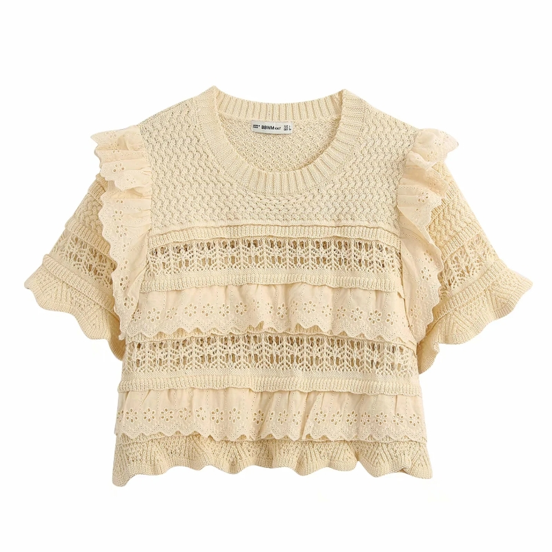 New 2020 Women Fashion O Neck Hollow Out Embroidery Lace Patchwork Knitting Casual Sweater Ladies Ruffles Thin Sweater Tops S255
