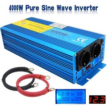 4000W Pure Sine Inverter DC 12 V to AC 220V 2 EU Socket 2 LED Display Full Power Inverter transformer Pure Sine Wave Power mkp5000 242b c off grid pure sine power inverter dc 12v ac 220v 5000w 10000w 24 dc to 220 ac inverter dc to ac inverter