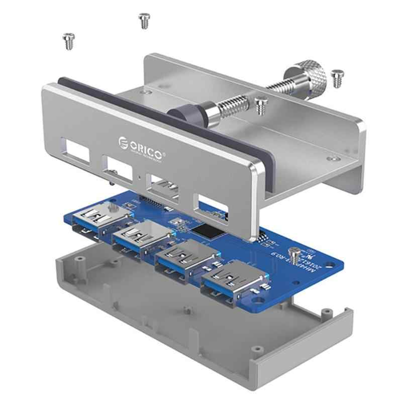 ORICO USB Hub aluminio externo 4 puertos USB 3,0 Usb divisor con 10-30mm Clip ajustable para Macbook Air ordenador portátil