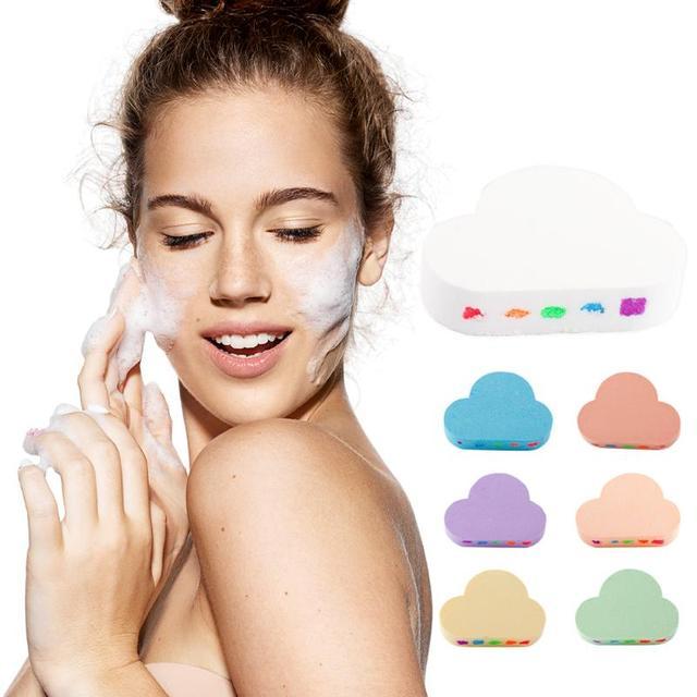 100g Rainbow Cloud Natural Bath Salt Exfoliating Moisturizing Bubble Bomb Ball Essential Oil Bubble Shower Natural Skin Care 4