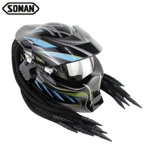 Helmets Predator Black Flip Up Motorcycle Helmet Custom Full