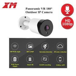 Vr 180 ° 1080 p poe áudio ip câmera 2mp bala cctv ip câmera onvif 2.0 para o sistema poe nvr visão noturna exterior impermeável h.265 +