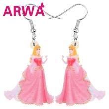 Arwa acrílico rosa sorriso princesa fada brincos longo anime personagem balançar gota para feminino menina engraçado jóias festa acessório