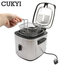 CUKYI 1.2L Мини электрическая фритюрница для картошки фри со съемным вкладышем из нержавеющей стали кухонная сковорода
