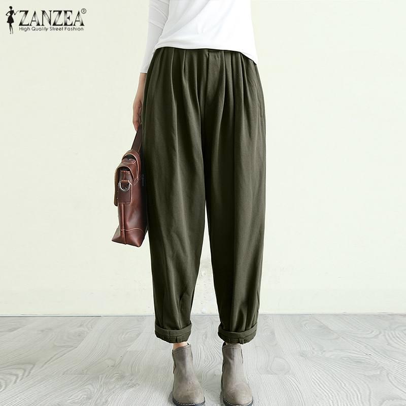 ZANZEA Women Elastic Waist Harem Trousers Solid Loose Pants Vintage Casual Wide Leg Pants Plus Size Long Turnip Pantalon Baggy