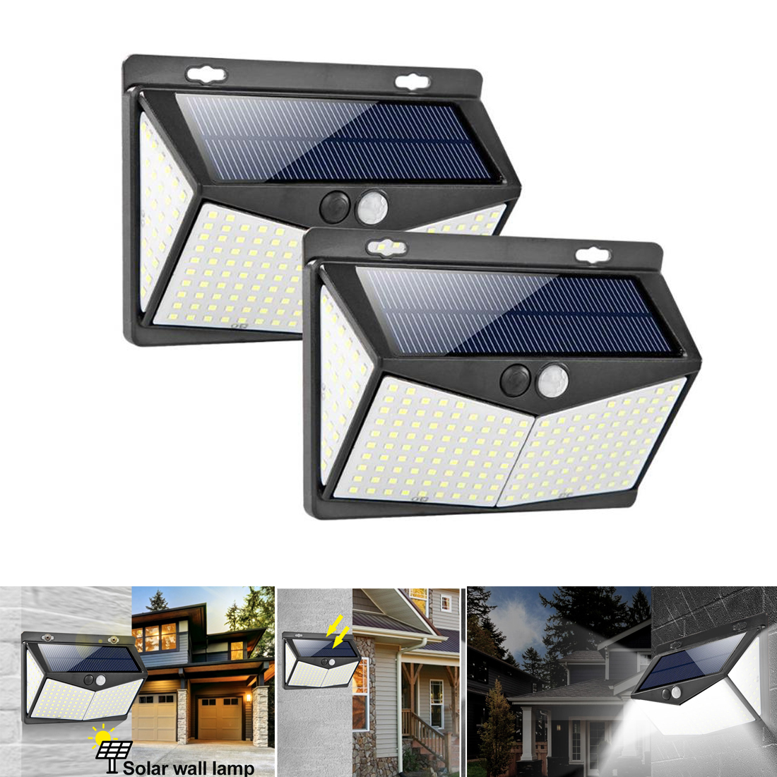 208LED Solar Light Outdoor Solar Lamp PIR Motion Sensor Wall LED Light Waterproof Solar Powered Sunlight For Garden Decoration