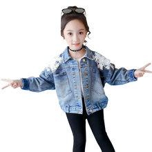 2019 Autumn Slim Girls Back Lace Denim Jacket Coat Kids Vintage Long Sleeve Flower Top Floral Outerwear