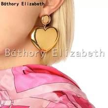 Elizabeth pendientes de botón pendientes Vintage Color dorado para mujer pendientes de botón pendientes simples de romance pendientes de botón de corazón de melocotón