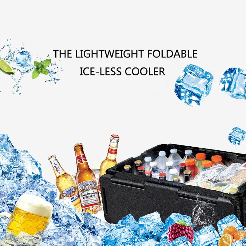60L Portable Collapsible Chill Chest Cooler Outdoor Insulation Storage Box Waterproof for  Picnics Beach Trips|Camping Cooler| |  - title=