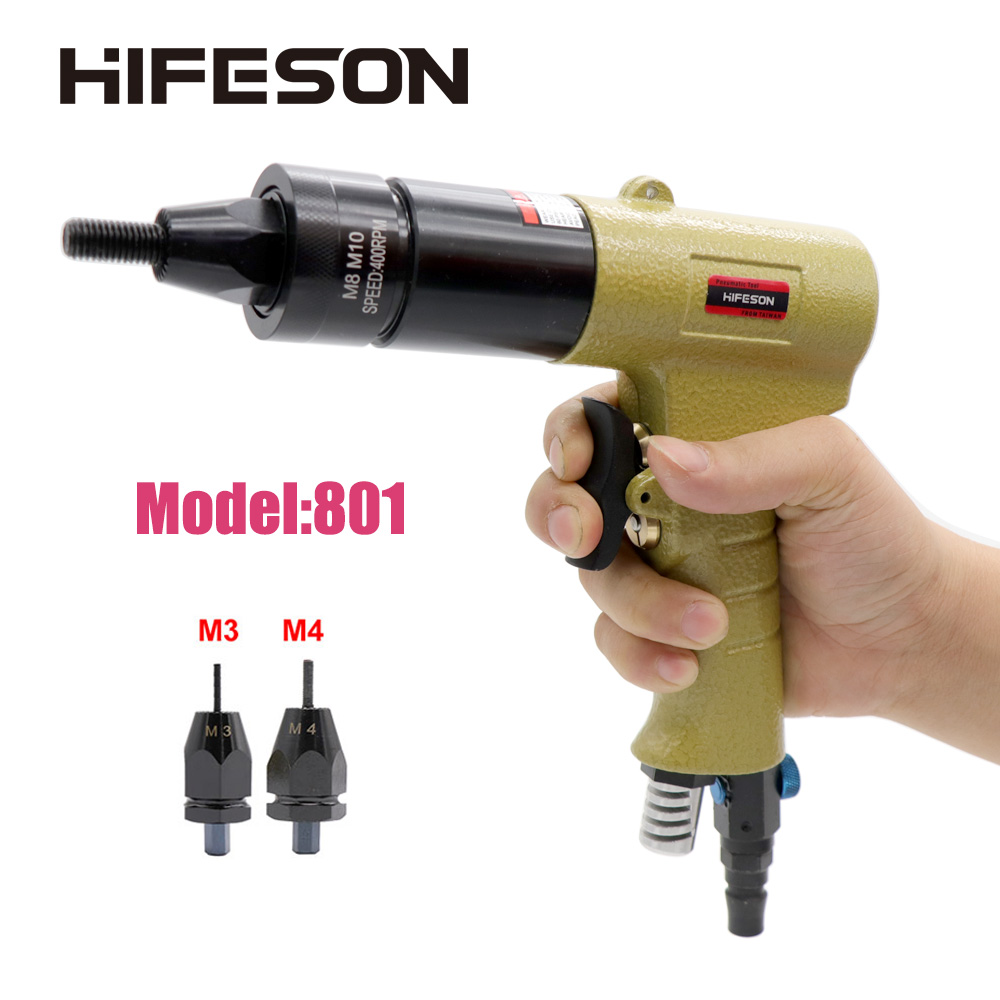 HF-801 M3 M4 Pneumatic Air Rivet Nut Guns Insert Threaded Pull Setter Riveters Riveting Nuts Rivnut Tool For Nuts