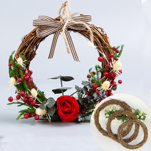 DIY Merry Christmas Decorations For Home Natural Rattan Wreath Garland Tree Craft Xmas Decor Accessories Spring Wedding New Year