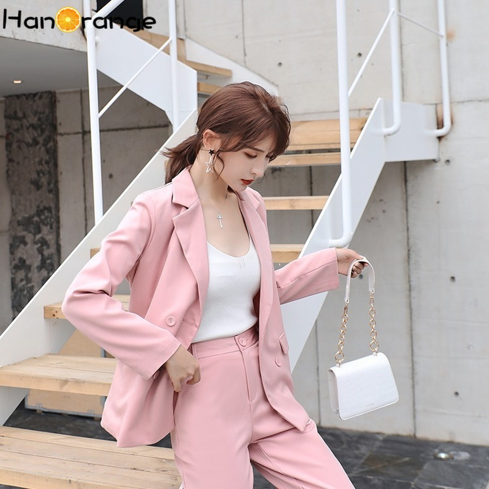 Women Casual Pant Suits 2019 Autumn Double-breasted Jacket + Nine-point Pants Two-piece Set