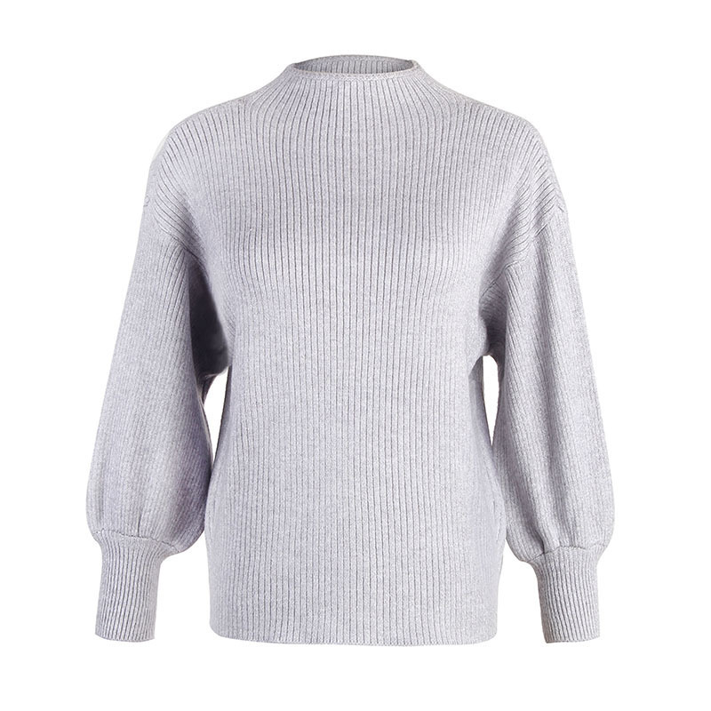 Fashion Knitted Women Pullover Sweater Lantern Sleeve Crew Neck Solid Jumper Ladies Autumn Winter Clothes Jerseys Mujer Moda