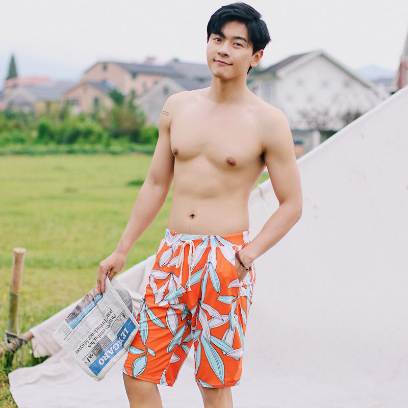 Large Size Men Sports Casual Beach Surfing Swimming Trunks Lace-up Loose-Fit Breathable Boxer Short Quick-Dry COUPLE'S