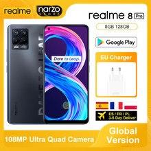 Realme 8 pro smartphone versão global 8gb 128gb 6.4 Polegada exibição 108mp ultra quad câmeras snapdragon 720g 4500mah 50w nfc