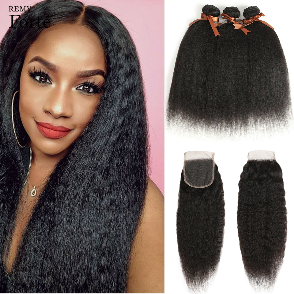 Remy Forte 30 Inch Bundles With Closure Kinky Straight Human Hair Bundles With Closure Brazilian Hair Weave Bundles 3/4 Bundles