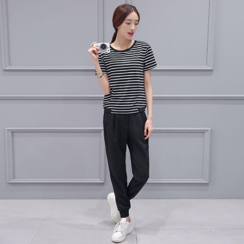 2016 Summer Wear New Style Korean-style WOMEN'S Short Sleeve Shirt Black And White Stripes T-shirt + Drawstring Top Harem Pants