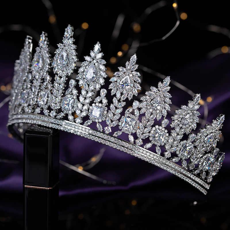 Tiaras and Crown HADIYANA Brillante Elegant Temperament Women Wedding Hair Accessories Headband Zirconia BC5640 Corona Princesa