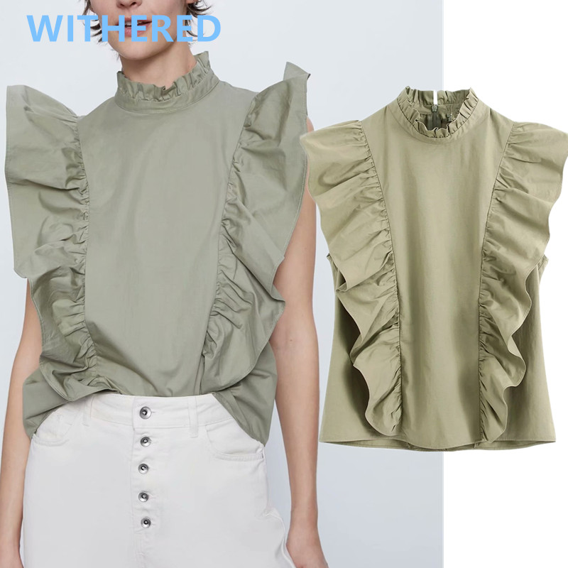 Withered England Office Lady Simple Vintage Cascading Cotton Blouse Women Blusas Mujer De Moda 2020 Shirt Womens Tops And Blouse