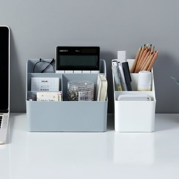 WBBOOMING Plastic Desktop Sundries Storage Makeup Organizer Cosmetic Makeup Brush Storage Case Home Office Bathroom Storage Box 3