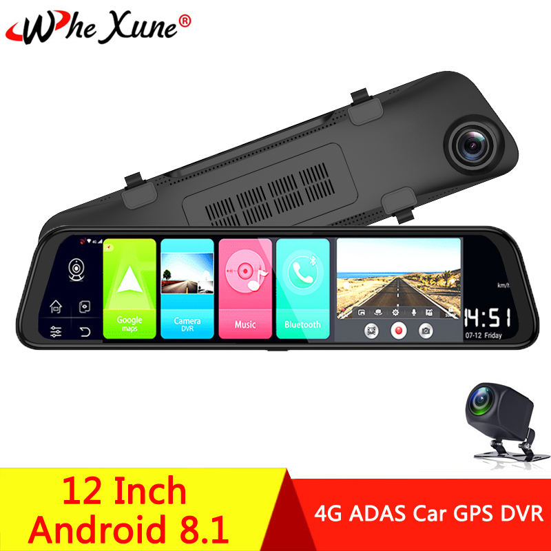WHEXUNE 12 inch Android 8.1 2GB+32GB ADAS DashCam <font><b>Car</b></font> <font><b>DVR</b></font> <font><b>Mirror</b></font> Camera 4G WIFI GPS Bluetooth Full HD 1080P Video Recorder image