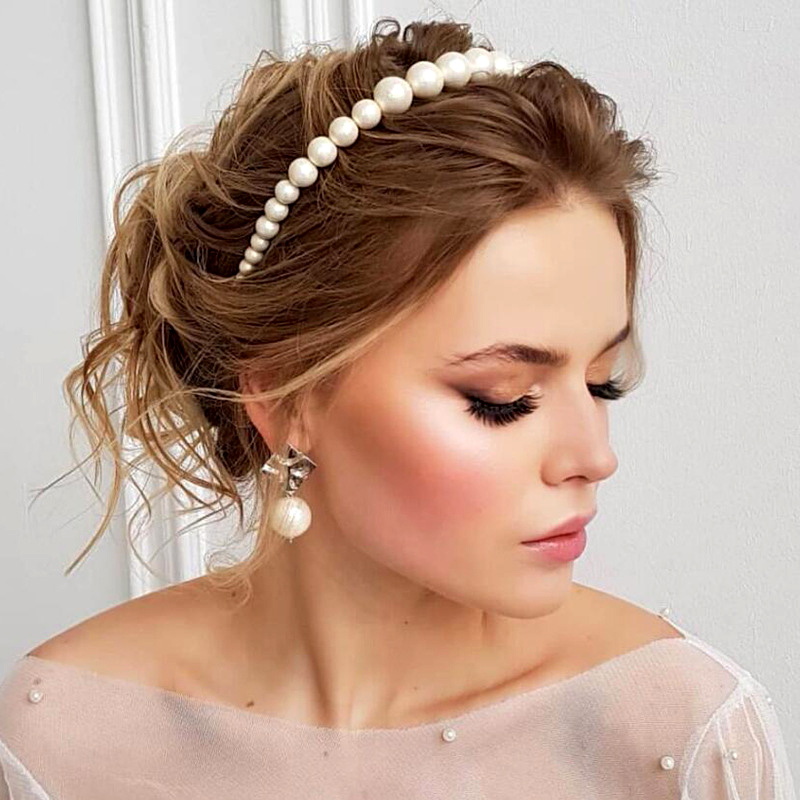 Luxury Beautiful Style Large Pearl Headband For Women Elegant Wild Personality Headband Fashion Hairbrands For Girls