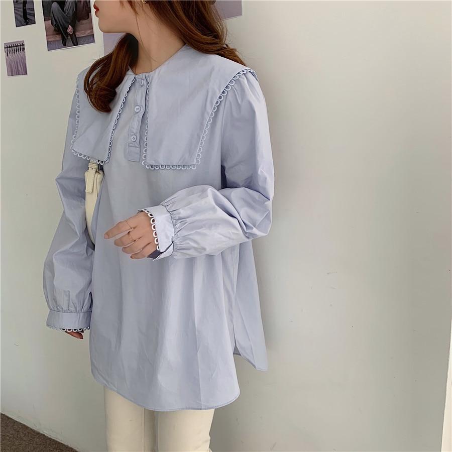 H6ee0bd5910b14122ba2f6ebb6620a4bbj - Spring / Autumn Puritan collar Long Sleeves Solid Blouse