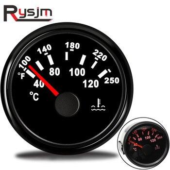 Indicador de temperatura del agua del coche de 52mm 40-120 100-250 Fahrenheit 9-32V Metro impermeable Indicador de temperatura de agua carreras de motos Auto Yacht