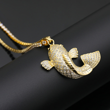 New Iced Out Lucky Little Koi Pendants&Necklaces Micro Pave Cuban Zircon Stone Pendant Necklace  High Quality Hip Hop Gift