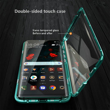 Double Tempered Glass Metal Magneticl Case For Huawei Mate 20Pro P 30Pro Curved glass 360° protection metal magnetic