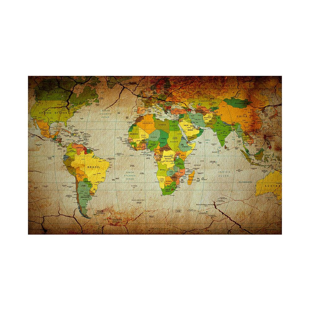 Retro Kraft Paper Style World Map 150x100cm Non Woven Foldable World Map For Office And School Education