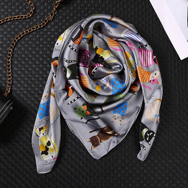2020 Luxury Brand Women Sauqre Scarf Summer Silk Scarves Shawls Lady Wraps Soft Pashimina Echarpe Designer Beach Stole Bandana