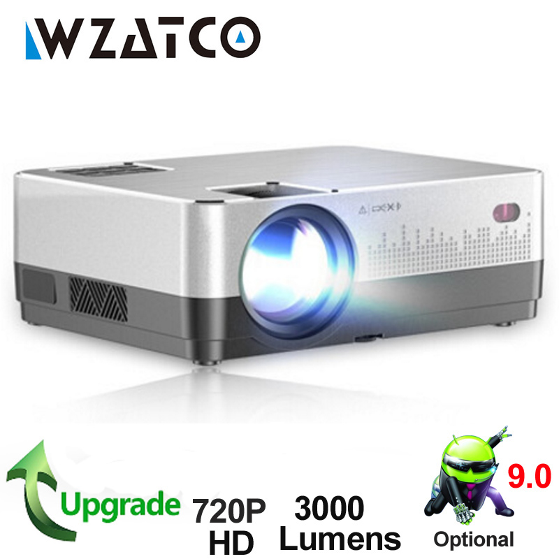 WZATCO H2 3000Lumens HD 720P LED Projector Android 9.0 WiFi Full HD 1080P 4K Multimídia LCD proyector Beamer Para Home Theater