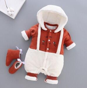 Детские комбинезоны для новорожденных; Сезон осень-зима; Милые хлопковые плотные бархатные комбинезоны для маленьких мальчиков; Теплый комбинезон для малышей