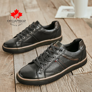 Zapatos informales de piel auténtica para hombre, calzado con cordones, para caminar al aire libre, 2020