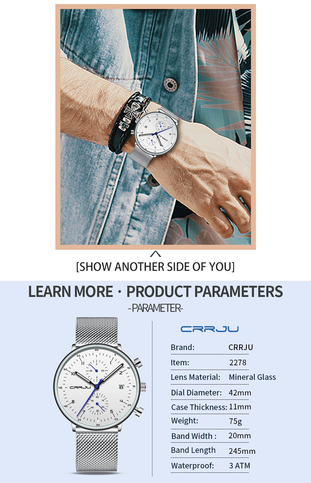 Mens Watch CRRJU Luxury Top Brand Men Stainless Steel WristWatch Men's Military waterproof Date Quartz watches relogio masculino H6ee12c9e92c449a9b1316b3681ee13d1a
