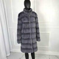 Lange stil Hohe qualität pelzmantel Luxus Warme Frauen echt rex kaninchen Mantel mit stehkragen Echte rex Kaninchen Pelz mäntel E