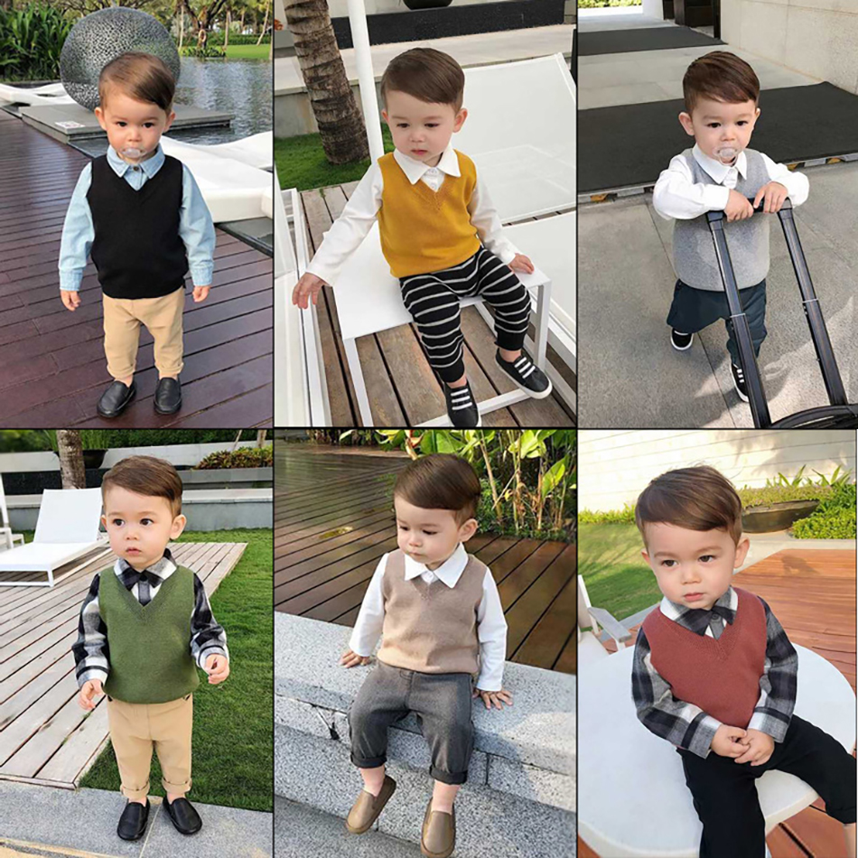 Autumn Baby Boys Girls Cute Sweater Vest Kids Leopard Pattern Printing Knitting Sleeveless Tops Toddler Casual Costume Blouse 2